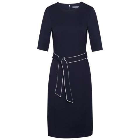 Imogen Dress, Navy - style: shift; fit: tailored/fitted; pattern: plain; waist detail: belted waist/tie at waist/drawstring; predominant colour: navy; occasions: evening, work; length: on the knee; fibres: viscose/rayon - stretch; neckline: crew; sleeve length: half sleeve; sleeve style: standard; pattern type: fabric; texture group: other - light to midweight; season: s/s 2016; wardrobe: investment