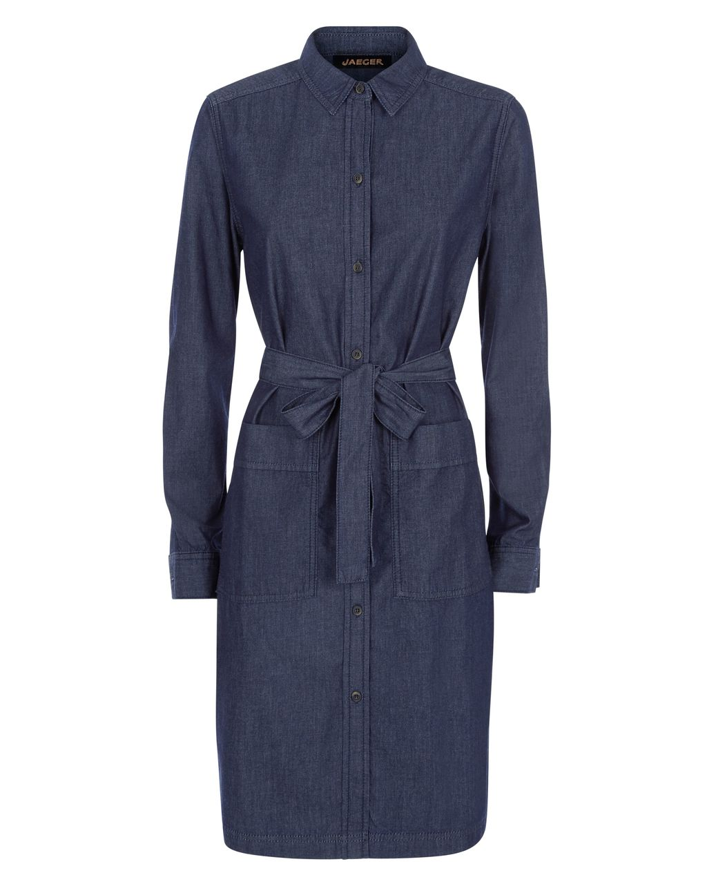 Denim Shirt Dress, Blue - style: shirt; length: mid thigh; neckline: shirt collar/peter pan/zip with opening; fit: tailored/fitted; pattern: plain; waist detail: belted waist/tie at waist/drawstring; predominant colour: navy; occasions: casual, creative work; fibres: cotton - stretch; hip detail: subtle/flattering hip detail; sleeve length: long sleeve; sleeve style: standard; texture group: denim; pattern type: fabric; season: s/s 2016; wardrobe: basic