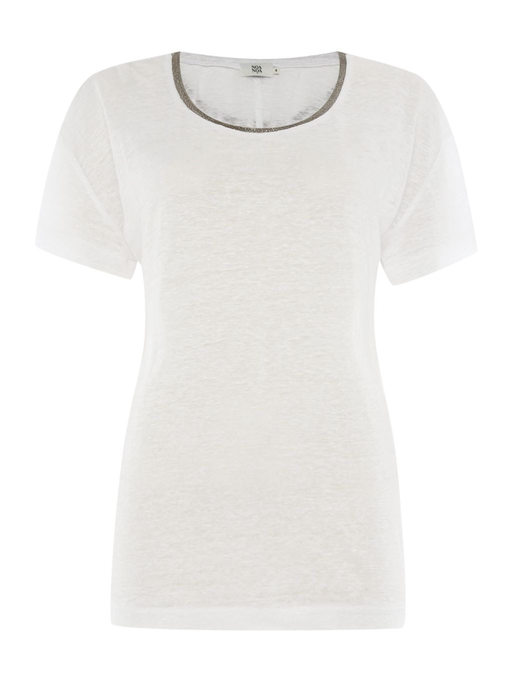Short Sleeve T Shirt, White - neckline: round neck; pattern: plain; style: t-shirt; predominant colour: white; occasions: casual; length: standard; fibres: linen - 100%; fit: body skimming; sleeve length: short sleeve; sleeve style: standard; pattern type: fabric; texture group: jersey - stretchy/drapey; season: s/s 2016