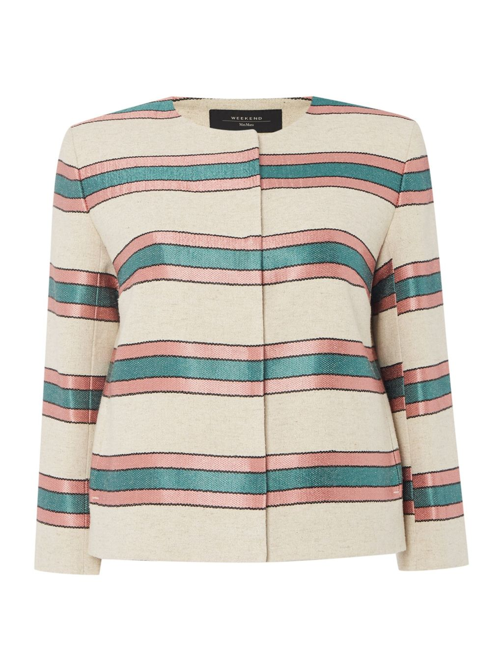 Burano Long Sleeve Stripe Jacket, Beige - pattern: horizontal stripes; collar: round collar/collarless; style: boxy; predominant colour: ivory/cream; secondary colour: teal; length: standard; fit: straight cut (boxy); fibres: silk - mix; occasions: occasion, creative work; sleeve length: 3/4 length; sleeve style: standard; texture group: structured shiny - satin/tafetta/silk etc.; collar break: high; pattern type: fabric; pattern size: standard; multicoloured: multicoloured; season: s/s 2016; wardrobe: highlight