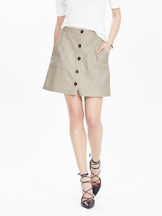 Button Front Canvas Skirt Canvas - length: mid thigh; pattern: plain; fit: loose/voluminous; waist: high rise; predominant colour: stone; occasions: casual, creative work; style: a-line; fibres: cotton - stretch; texture group: cotton feel fabrics; pattern type: fabric; season: s/s 2016; wardrobe: basic