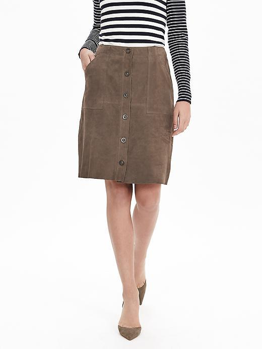 Suede Button Front Skirt Botanical Green - pattern: plain; style: straight; waist: high rise; predominant colour: chocolate brown; occasions: casual, creative work; length: just above the knee; fibres: leather - 100%; fit: straight cut; pattern type: fabric; texture group: suede; season: s/s 2016; wardrobe: highlight