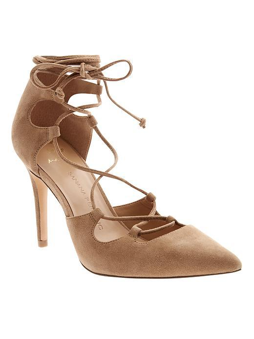 Dakota Lace Up Pump Mocha Latte - predominant colour: camel; occasions: evening; material: leather; heel height: high; ankle detail: ankle tie; heel: stiletto; toe: pointed toe; style: courts; finish: plain; pattern: plain; season: s/s 2016; wardrobe: event