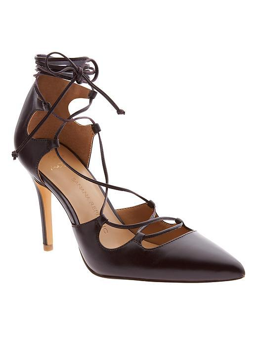 Dakota Lace Up Pump Merlot - predominant colour: black; occasions: evening; material: leather; heel height: high; ankle detail: ankle tie; heel: stiletto; toe: pointed toe; style: courts; finish: plain; pattern: plain; season: s/s 2016; wardrobe: event
