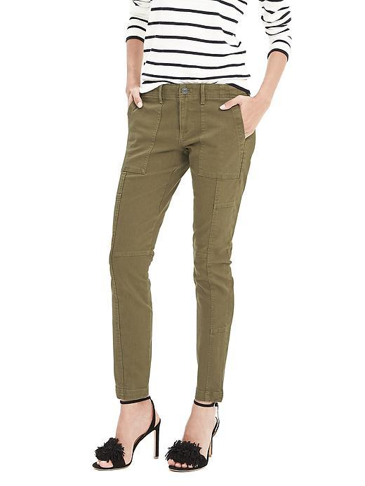 Heritage Plaid Skinny Ankle Utility Pant Utility Green 341 - pattern: plain; hip detail: front pockets at hip; waist: mid/regular rise; style: cargo; predominant colour: khaki; occasions: casual; length: ankle length; fibres: cotton - 100%; texture group: cotton feel fabrics; fit: slim leg; pattern type: fabric; season: s/s 2016