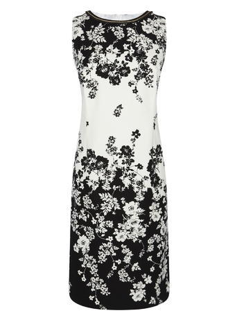 Statement Neckline Floral Sateen Shift Dress, Monochrome, Black/White - style: shift; fit: tailored/fitted; sleeve style: sleeveless; secondary colour: white; predominant colour: black; length: just above the knee; fibres: cotton - mix; occasions: occasion; neckline: crew; sleeve length: sleeveless; trends: monochrome; pattern type: fabric; pattern size: big & busy; pattern: florals; texture group: woven light midweight; season: s/s 2016; wardrobe: event