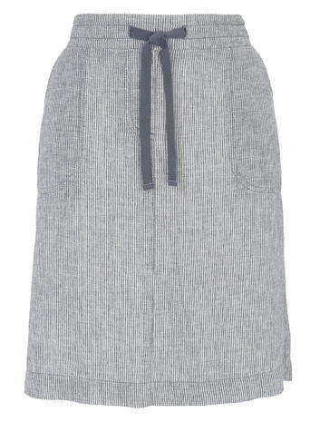 Womens Striped Linen Drawstring Skirt, Navy, Navy - pattern: plain; style: straight; waist: high rise; waist detail: belted waist/tie at waist/drawstring; predominant colour: mid grey; occasions: casual, creative work; length: just above the knee; fibres: linen - 100%; texture group: linen; fit: straight cut; pattern type: fabric; season: s/s 2016; wardrobe: basic