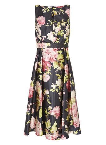 Womens Rose Print Satin Prom Dress, Black Multi, Black/Multi - length: below the knee; neckline: round neck; sleeve style: sleeveless; style: prom dress; secondary colour: blush; predominant colour: black; occasions: evening, occasion; fit: fitted at waist & bust; fibres: polyester/polyamide - 100%; hip detail: structured pleats at hip; waist detail: narrow waistband; sleeve length: sleeveless; texture group: structured shiny - satin/tafetta/silk etc.; pattern type: fabric; pattern size: big & busy; pattern: florals; multicoloured: multicoloured; season: s/s 2016; wardrobe: event