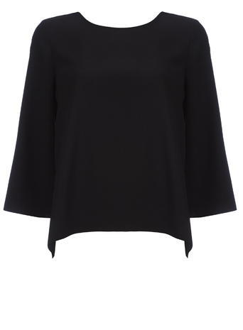 Womens Wallis Black Split Side Top, Black - pattern: plain; predominant colour: black; occasions: evening; length: standard; style: top; fibres: polyester/polyamide - 100%; fit: body skimming; neckline: crew; sleeve length: 3/4 length; sleeve style: standard; pattern type: fabric; texture group: other - light to midweight; season: s/s 2016; wardrobe: event