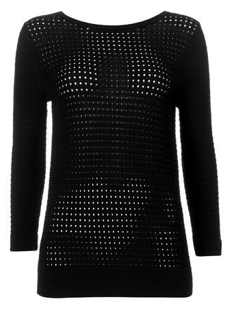 Womens Wallis Black Airetex Detail Jumper, Black - pattern: plain; style: standard; predominant colour: black; occasions: casual; length: standard; fit: slim fit; neckline: crew; sleeve length: long sleeve; sleeve style: standard; texture group: knits/crochet; pattern type: fabric; fibres: viscose/rayon - mix; season: s/s 2016