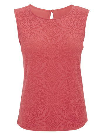 Womens Sleeveless Burnout Print Top, Raspberry, Raspberry - sleeve style: sleeveless; predominant colour: coral; occasions: casual; length: standard; style: top; fibres: polyester/polyamide - mix; fit: body skimming; neckline: crew; sleeve length: sleeveless; pattern type: fabric; pattern: patterned/print; texture group: other - light to midweight; embellishment: lace; season: s/s 2016; wardrobe: highlight