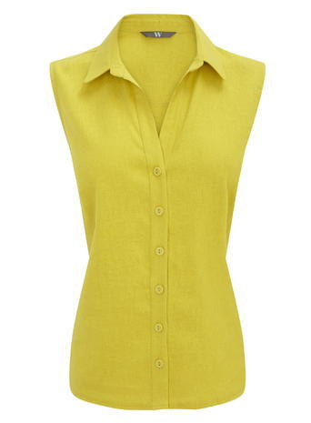 Womens Sleeveless Button Through Shirt, Lime, Lime - neckline: shirt collar/peter pan/zip with opening; pattern: plain; sleeve style: sleeveless; style: shirt; predominant colour: yellow; occasions: casual; length: standard; fibres: linen - 100%; fit: body skimming; sleeve length: sleeveless; texture group: linen; pattern type: fabric; season: s/s 2016; wardrobe: highlight