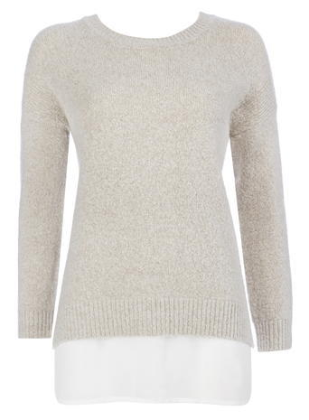 Womens Wallis Petite Stone Crew Neck 2 In1 Jumper, Stone - pattern: plain; style: standard; predominant colour: stone; occasions: casual; length: standard; fibres: acrylic - mix; fit: slim fit; neckline: crew; sleeve length: long sleeve; sleeve style: standard; texture group: knits/crochet; pattern type: knitted - fine stitch; season: s/s 2016; wardrobe: basic