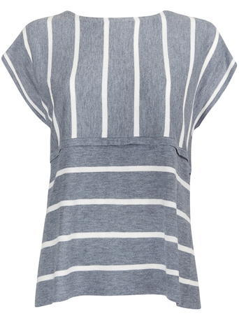 Womens Wallis Whitney Stripe Top, Blue - pattern: striped; secondary colour: white; predominant colour: mid grey; occasions: casual; length: standard; style: top; fibres: polyester/polyamide - mix; fit: body skimming; neckline: crew; sleeve length: short sleeve; sleeve style: standard; pattern type: fabric; pattern size: standard; texture group: jersey - stretchy/drapey; multicoloured: multicoloured; season: s/s 2016; wardrobe: highlight