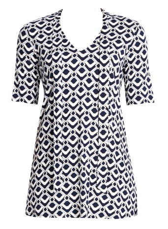Womens Wallis Deco Print Tie Top, Navy - neckline: v-neck; secondary colour: white; predominant colour: navy; occasions: casual; length: standard; style: top; fibres: viscose/rayon - stretch; fit: body skimming; sleeve length: short sleeve; sleeve style: standard; pattern type: fabric; pattern: patterned/print; texture group: jersey - stretchy/drapey; multicoloured: multicoloured; season: s/s 2016; wardrobe: highlight