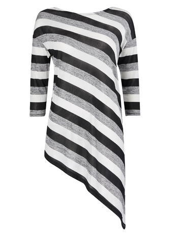 Womens Wallis Stripe Asymetric Top, Black - pattern: striped; length: below the bottom; predominant colour: mid grey; secondary colour: black; occasions: casual; style: top; fibres: polyester/polyamide - stretch; fit: body skimming; neckline: crew; sleeve length: 3/4 length; sleeve style: standard; pattern type: fabric; texture group: jersey - stretchy/drapey; multicoloured: multicoloured; season: s/s 2016