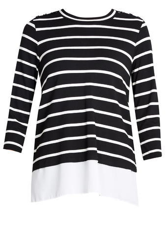 Womens Wallis Button Stripe Hem Top, Black - pattern: horizontal stripes; secondary colour: white; predominant colour: black; occasions: casual; length: standard; style: top; fibres: viscose/rayon - stretch; fit: body skimming; neckline: crew; sleeve length: 3/4 length; sleeve style: standard; pattern type: fabric; texture group: jersey - stretchy/drapey; multicoloured: multicoloured; season: s/s 2016; wardrobe: basic