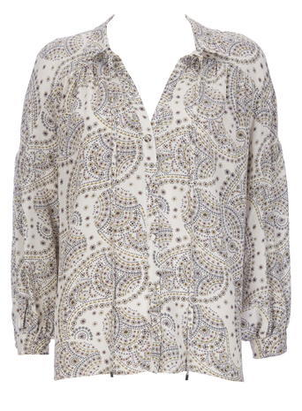 Womens Wallis Romantic Paisley Shirt, Cream - neckline: shirt collar/peter pan/zip with opening; style: shirt; pattern: paisley; predominant colour: mid grey; occasions: casual, creative work; length: standard; fibres: polyester/polyamide - 100%; fit: body skimming; sleeve length: long sleeve; sleeve style: standard; texture group: sheer fabrics/chiffon/organza etc.; pattern type: fabric; pattern size: big & busy (top); season: s/s 2016; wardrobe: highlight