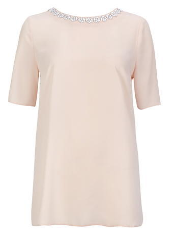 Womens Wallis Blush Shell Top, Pale Pink - neckline: round neck; pattern: plain; length: below the bottom; predominant colour: blush; occasions: casual, creative work; style: top; fibres: polyester/polyamide - 100%; fit: body skimming; sleeve length: half sleeve; sleeve style: standard; texture group: sheer fabrics/chiffon/organza etc.; pattern type: fabric; season: s/s 2016; wardrobe: basic