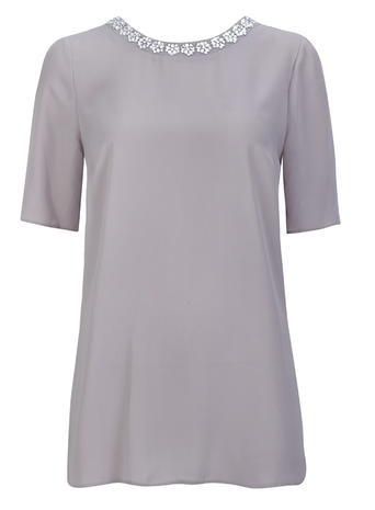 Womens Wallis Grey Embellished Shell Top, Grey - pattern: plain; style: t-shirt; secondary colour: silver; predominant colour: light grey; occasions: evening, occasion; length: standard; fibres: polyester/polyamide - 100%; fit: straight cut; neckline: crew; sleeve length: half sleeve; sleeve style: standard; texture group: crepes; pattern type: fabric; embellishment: crystals/glass; season: s/s 2016; wardrobe: event