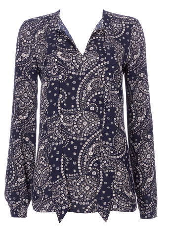 Womens Wallis Navy Paisley Print Shirt, Navy - style: shirt; pattern: paisley; neckline: pussy bow; predominant colour: navy; secondary colour: light grey; occasions: casual; length: standard; fibres: polyester/polyamide - 100%; fit: body skimming; sleeve length: long sleeve; sleeve style: standard; pattern type: fabric; texture group: other - light to midweight; pattern size: big & busy (top); multicoloured: multicoloured; season: s/s 2016; wardrobe: highlight
