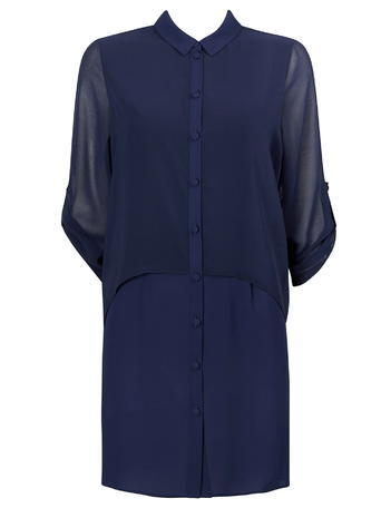 Womens Wallis Navy Double Layer Shirt, Navy - style: shirt; neckline: shirt collar/peter pan/zip with opening; pattern: plain; predominant colour: navy; occasions: evening; length: just above the knee; fit: body skimming; fibres: polyester/polyamide - 100%; sleeve length: 3/4 length; sleeve style: standard; texture group: sheer fabrics/chiffon/organza etc.; pattern type: fabric; shoulder detail: sheer at shoulder; season: s/s 2016; wardrobe: event