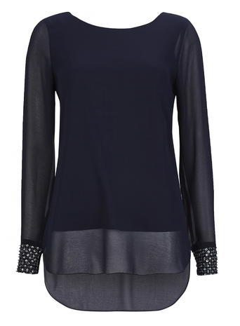 Womens Wallis Navy Embellished Top, Navy - neckline: round neck; pattern: plain; predominant colour: navy; occasions: evening; length: standard; style: top; fibres: polyester/polyamide - 100%; fit: body skimming; sleeve length: long sleeve; sleeve style: standard; texture group: sheer fabrics/chiffon/organza etc.; pattern type: fabric; season: s/s 2016; wardrobe: event