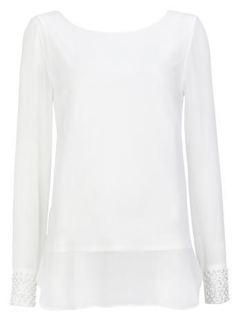 Womens Wallis Cream Blouse, Cream - neckline: round neck; pattern: plain; style: blouse; predominant colour: ivory/cream; occasions: casual; length: standard; fibres: polyester/polyamide - 100%; fit: body skimming; sleeve length: long sleeve; sleeve style: standard; pattern type: fabric; texture group: jersey - stretchy/drapey; season: s/s 2016; wardrobe: basic