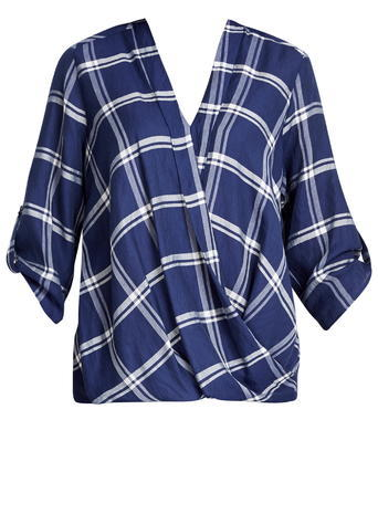 Womens Wallis Navy Check Wrap Top, Navy - neckline: v-neck; pattern: checked/gingham; style: wrap/faux wrap; bust detail: subtle bust detail; secondary colour: white; predominant colour: navy; occasions: casual; length: standard; fit: body skimming; sleeve length: 3/4 length; sleeve style: standard; pattern type: fabric; pattern size: standard; texture group: woven light midweight; fibres: viscose/rayon - mix; multicoloured: multicoloured; season: s/s 2016; wardrobe: highlight