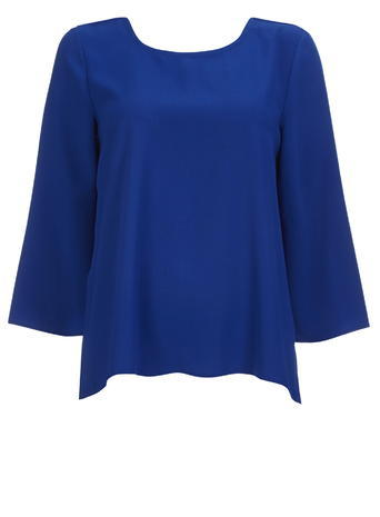 Womens Wallis Cobalt Split Side Top, Blue - pattern: plain; predominant colour: royal blue; occasions: casual; length: standard; style: top; fibres: polyester/polyamide - 100%; fit: body skimming; neckline: crew; sleeve length: long sleeve; sleeve style: standard; pattern type: fabric; texture group: other - light to midweight; season: s/s 2016; wardrobe: highlight