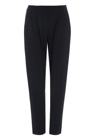 Womens Wallis Petite Black Trousers, Black - pattern: plain; style: peg leg; waist: mid/regular rise; predominant colour: black; occasions: casual; length: ankle length; fibres: polyester/polyamide - stretch; hip detail: subtle/flattering hip detail; waist detail: feature waist detail; fit: tapered; pattern type: fabric; texture group: jersey - stretchy/drapey; season: s/s 2016; wardrobe: basic