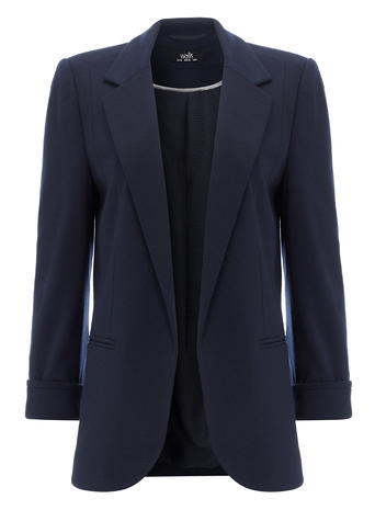 Womens Wallis Petite Navy Ponte Jacket, Navy - pattern: plain; style: single breasted blazer; length: below the bottom; collar: standard lapel/rever collar; predominant colour: navy; occasions: work; fit: tailored/fitted; fibres: polyester/polyamide - mix; sleeve length: long sleeve; sleeve style: standard; collar break: low/open; pattern type: fabric; texture group: woven light midweight; season: s/s 2016; wardrobe: investment