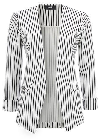 Womens Wallis Stripe Edge To Edge Jacket, Navy - style: single breasted blazer; pattern: striped; collar: round collar/collarless; predominant colour: navy; occasions: casual, creative work; length: standard; fit: tailored/fitted; fibres: polyester/polyamide - stretch; sleeve length: long sleeve; sleeve style: standard; collar break: low/open; pattern type: fabric; texture group: woven light midweight; pattern size: big & busy (top); season: s/s 2016; wardrobe: highlight