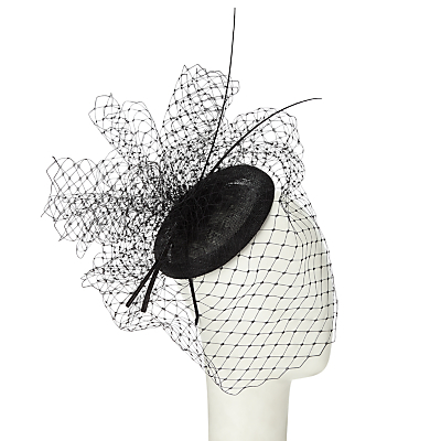 Amber Veiling And Quills Fascinator - predominant colour: black; occasions: occasion; type of pattern: standard; style: fascinator; size: large; pattern: plain; material: net; embellishment: feather; season: s/s 2016