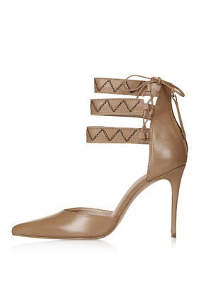 Lux Gesture Stitch Court Shoes - predominant colour: camel; occasions: evening; material: leather; heel height: high; ankle detail: ankle strap; heel: stiletto; toe: pointed toe; style: courts; finish: plain; pattern: plain; season: s/s 2016; wardrobe: event