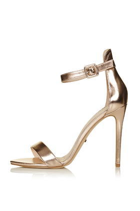 Rita Two Part Skinny Sandals - predominant colour: gold; occasions: evening, occasion; material: leather; heel: stiletto; toe: open toe/peeptoe; style: standard; finish: metallic; pattern: plain; heel height: very high; season: s/s 2016; wardrobe: event; trends: metallics