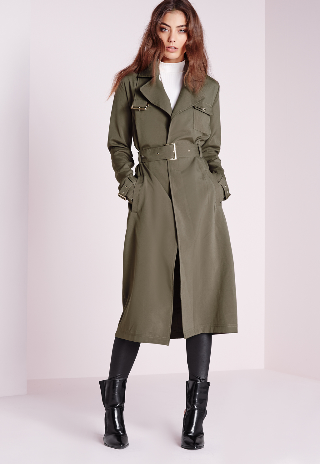 Military Trench Coat Khaki, Beige - pattern: plain; style: trench coat; fit: slim fit; collar: standard lapel/rever collar; length: calf length; predominant colour: khaki; occasions: casual; fibres: polyester/polyamide - stretch; waist detail: belted waist/tie at waist/drawstring; sleeve length: long sleeve; sleeve style: standard; collar break: medium; pattern type: fabric; texture group: other - light to midweight; season: s/s 2016; wardrobe: basic