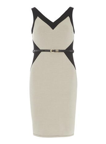Womens Black And Camel Pencil Dress Black - neckline: v-neck; fit: tight; sleeve style: sleeveless; style: bodycon; waist detail: belted waist/tie at waist/drawstring; predominant colour: stone; secondary colour: black; occasions: evening; length: just above the knee; fibres: polyester/polyamide - stretch; sleeve length: sleeveless; texture group: jersey - clingy; pattern type: fabric; pattern: colourblock; season: s/s 2016; wardrobe: event