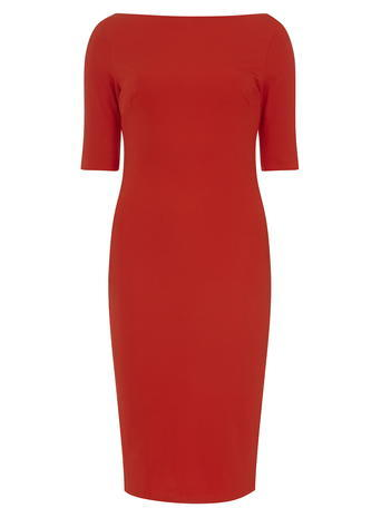 Womens **Tall Red Slash Neck Bodycon Dress Red - neckline: slash/boat neckline; fit: tight; pattern: plain; style: bodycon; predominant colour: true red; length: just above the knee; fibres: polyester/polyamide - stretch; occasions: occasion; sleeve length: short sleeve; sleeve style: standard; texture group: jersey - clingy; pattern type: fabric; season: s/s 2016; wardrobe: event