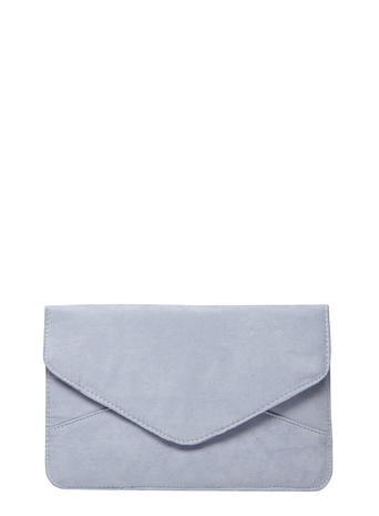 Womens Denim Blue Suedette Clutch Bag Blue - predominant colour: light grey; occasions: evening; type of pattern: standard; style: clutch; length: hand carry; size: small; material: suede; pattern: plain; finish: plain; season: s/s 2016
