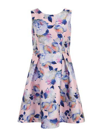 Womens **Chi Chi London Curve Floral Print Midi Dress Pink - length: mid thigh; sleeve style: sleeveless; predominant colour: blush; secondary colour: navy; occasions: evening; fit: fitted at waist & bust; style: fit & flare; fibres: polyester/polyamide - 100%; neckline: crew; sleeve length: sleeveless; pattern type: fabric; pattern size: big & busy; pattern: florals; texture group: other - light to midweight; multicoloured: multicoloured; season: s/s 2016; wardrobe: event