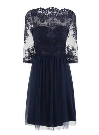 Womens *Chi Chi London Navy Embroidered Midi Dress Blue - neckline: slash/boat neckline; predominant colour: navy; length: just above the knee; fit: fitted at waist & bust; style: fit & flare; fibres: polyester/polyamide - 100%; occasions: occasion; sleeve length: 3/4 length; sleeve style: standard; texture group: lace; pattern type: fabric; pattern: patterned/print; embellishment: lace; shoulder detail: sheer at shoulder; season: s/s 2016; wardrobe: event; embellishment location: top