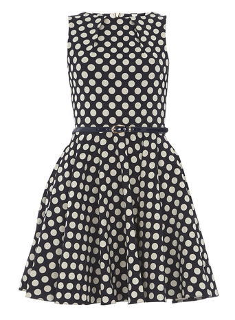 Womens **Closet Navy Polka Dot Belted Dress Blue - length: mid thigh; sleeve style: sleeveless; pattern: polka dot; waist detail: belted waist/tie at waist/drawstring; secondary colour: white; predominant colour: navy; occasions: evening; fit: fitted at waist & bust; style: fit & flare; fibres: polyester/polyamide - stretch; neckline: crew; sleeve length: sleeveless; pattern type: fabric; pattern size: big & busy; texture group: jersey - stretchy/drapey; multicoloured: multicoloured; season: s/s 2016; wardrobe: event