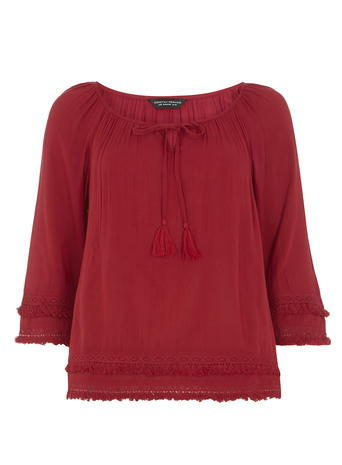 Womens Cranberry Tie Fringe Top Red - pattern: plain; neckline: pussy bow; predominant colour: burgundy; occasions: casual; length: standard; style: top; fibres: viscose/rayon - 100%; fit: body skimming; sleeve length: 3/4 length; sleeve style: standard; pattern type: fabric; texture group: other - light to midweight; season: s/s 2016; wardrobe: highlight