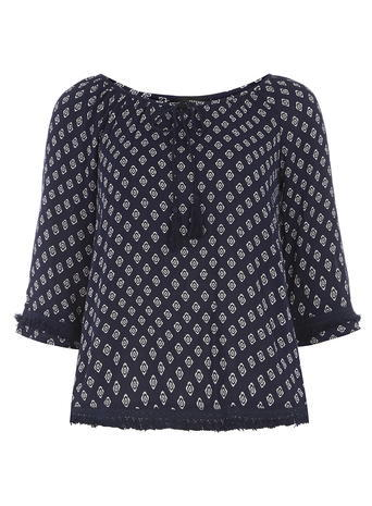 Womens Navy Diamond Tie Fringe Top Blue - neckline: pussy bow; predominant colour: navy; secondary colour: light grey; occasions: casual; length: standard; style: top; fibres: viscose/rayon - 100%; fit: body skimming; sleeve length: 3/4 length; sleeve style: standard; pattern type: fabric; pattern: patterned/print; texture group: other - light to midweight; multicoloured: multicoloured; season: s/s 2016; wardrobe: highlight
