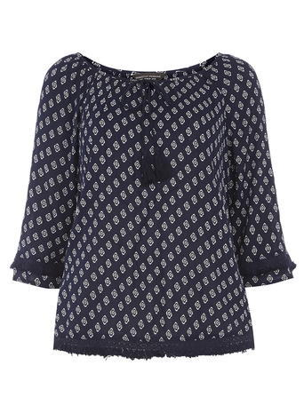Womens **Tall Diamond Tie Fringe Top Blue - neckline: round neck; predominant colour: navy; secondary colour: light grey; occasions: casual; length: standard; style: top; fibres: viscose/rayon - 100%; fit: body skimming; sleeve length: 3/4 length; sleeve style: standard; pattern type: fabric; pattern: patterned/print; texture group: woven light midweight; embellishment: fringing; multicoloured: multicoloured; season: s/s 2016; wardrobe: highlight