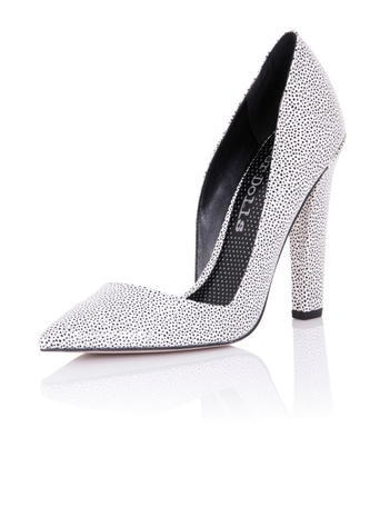 Womens *Paper Dolls 'nissa' Monochrome Shoes Black - predominant colour: silver; occasions: evening; material: fabric; heel height: high; embellishment: glitter; heel: block; toe: pointed toe; style: courts; finish: metallic; pattern: plain; season: s/s 2016; wardrobe: event