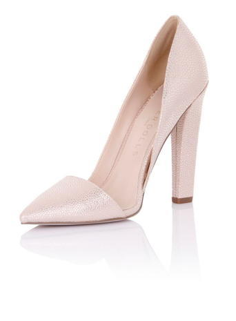 Womens **Paper Dolls 'nissa' Nude Shoes White - predominant colour: blush; occasions: evening; material: faux leather; embellishment: glitter; heel: block; toe: pointed toe; style: courts; finish: metallic; pattern: plain; heel height: very high; season: s/s 2016; wardrobe: event