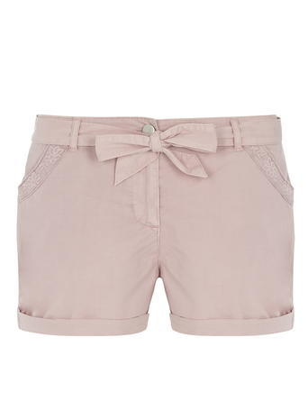 Womens Pink Pocket Trim Shorts Pink - pattern: plain; waist detail: belted waist/tie at waist/drawstring; waist: mid/regular rise; predominant colour: blush; occasions: casual; fibres: cotton - 100%; pattern type: fabric; texture group: woven light midweight; season: s/s 2016; wardrobe: basic; style: shorts; length: short shorts; fit: slim leg