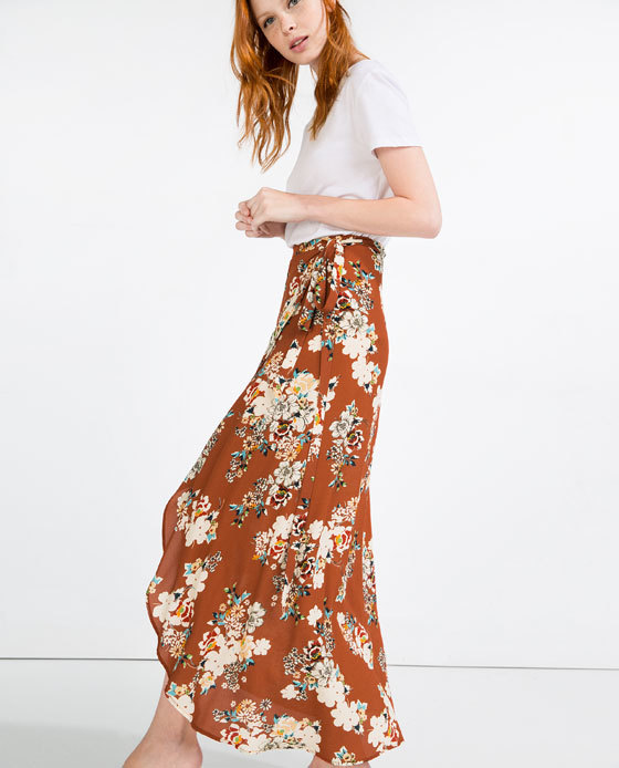 Long Wrap Skirt - style: wrap/faux wrap; length: ankle length; fit: loose/voluminous; waist: high rise; secondary colour: ivory/cream; predominant colour: tan; fibres: polyester/polyamide - 100%; occasions: occasion; hip detail: soft pleats at hip/draping at hip/flared at hip; waist detail: narrow waistband; texture group: sheer fabrics/chiffon/organza etc.; pattern type: fabric; pattern: florals; pattern size: big & busy (bottom); multicoloured: multicoloured; season: s/s 2016